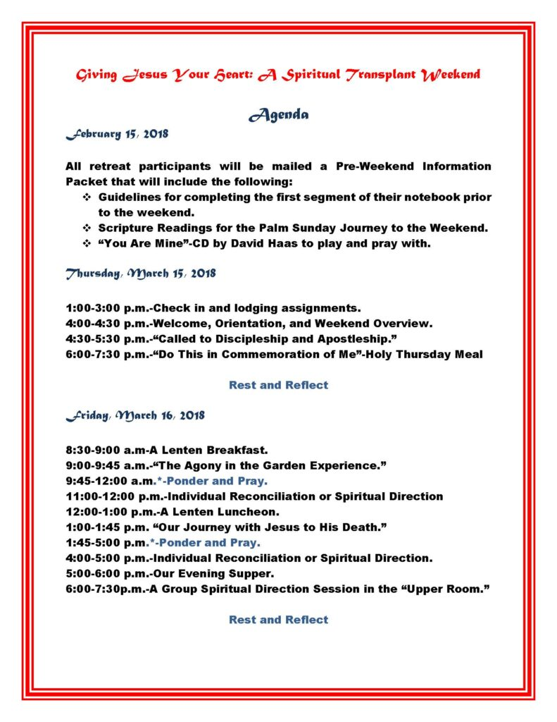 AGENDA for Giving Jesus Your Heart-a Spiritual Transplant Weekend_Page_1